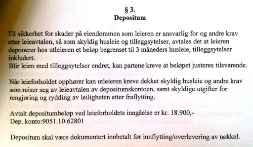 SOM VANLIG: Kontrakten ser ut til å være rimelig standard. Det står ingenting om at man ikke skal få renter.  Foto: Privat