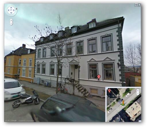 PRIVAT BOLIG: Det var her i Nedre Møllenberg Gate 20 at Haraldstad leide hybel.  Foto: Skjermdump fra Google Maps