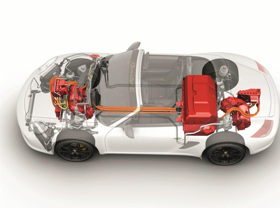 Batteripakken er midtplasser, mens elmotorene sitter over hver aksel. Vektfordelingen blir nær optimal.