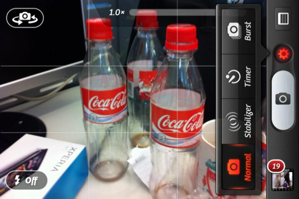 Camera+ har mye funksjonalitet både når du skal ta bilde og etterpå. Som du ser kan du både ta seriefoto, bruke selvutløser og sørge for at telefonen ikke tar bilde før du holder den stille nok.