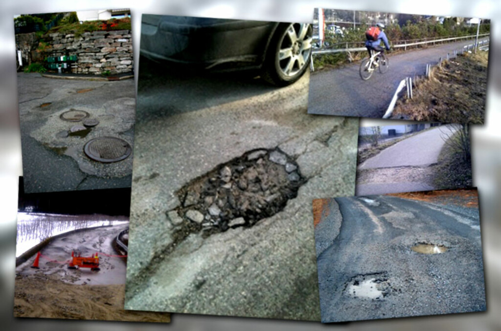 DÅRLIG STAND: Det er mange dårlige veier i Norge. På FiksGataMi.no sendes det inn tusenvis av slike bilder.  Foto: Jørn Gåsvær, Lars Edvardsen, Jarl Arntzen, Øivind Torkildsen, Trond Viggo Håpnes/CC-BY-SA/Fiksgatami