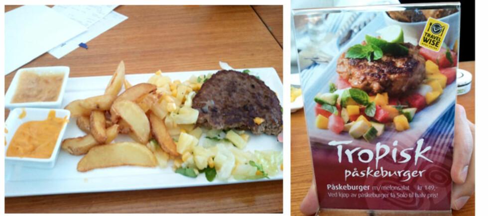 KJIP BURGEROPPLEVELSE PÅ KON-TIKI: Påskeburgeren lignet ikke akkurat på reklameplakaten. Foto: Ida Strøm Seljeseth