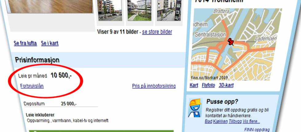 Lenke til Forbrukslån ligger fast under alle leiepriser på Finn.no. Foto: Finn.no/DinSide