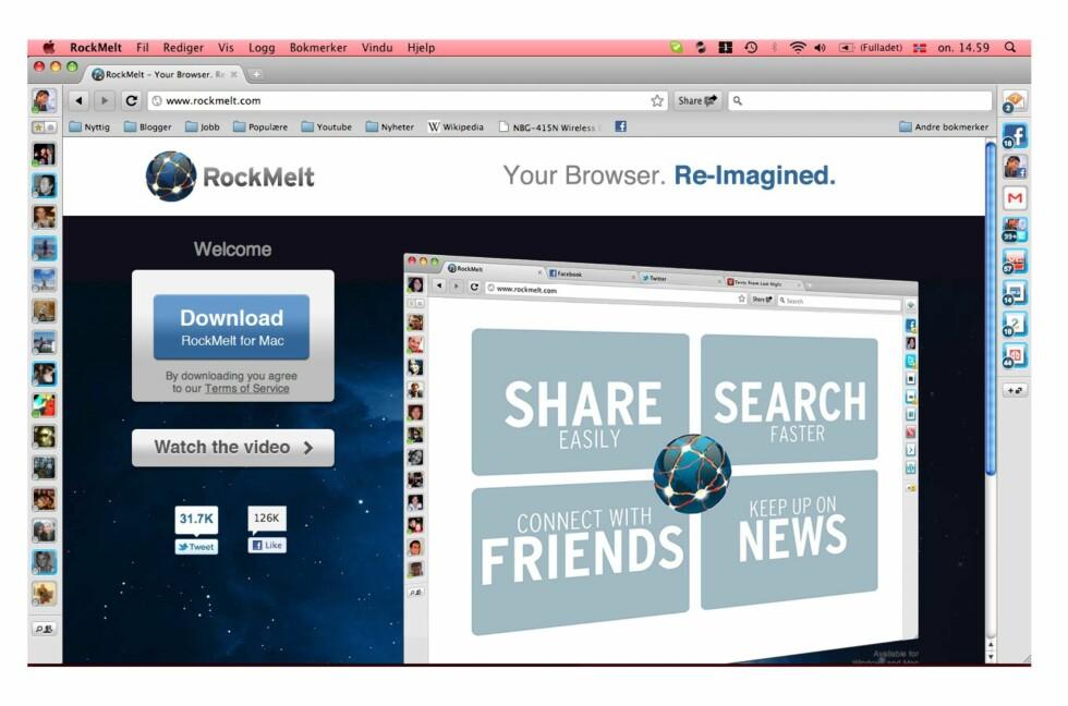 Det er sjelden nettsider utnytter hele skjermbredden. Dette ubenyttede området bruker RockMeIt til snarveier til sosiale tjenester, eposter, RSS-feeder med mer.