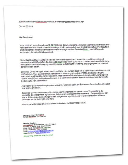 <strong>NIKS:</strong> Securitas Direct skriver i dette brevet at de nekter all skyld. Kunden og Eidsiva bør ta ansvar, skriver selskapet.