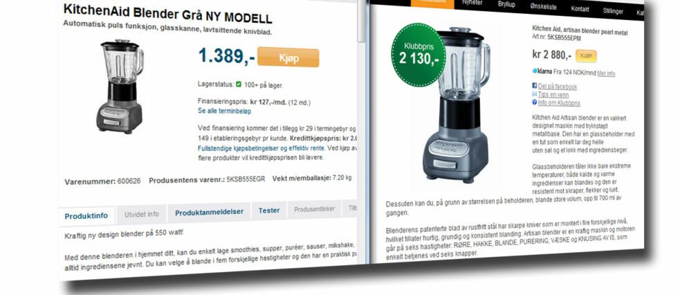 Mer enn 1.500 kroner skiller billigste og dyreste pris. Foto: Mpx.no/Kitchn.no