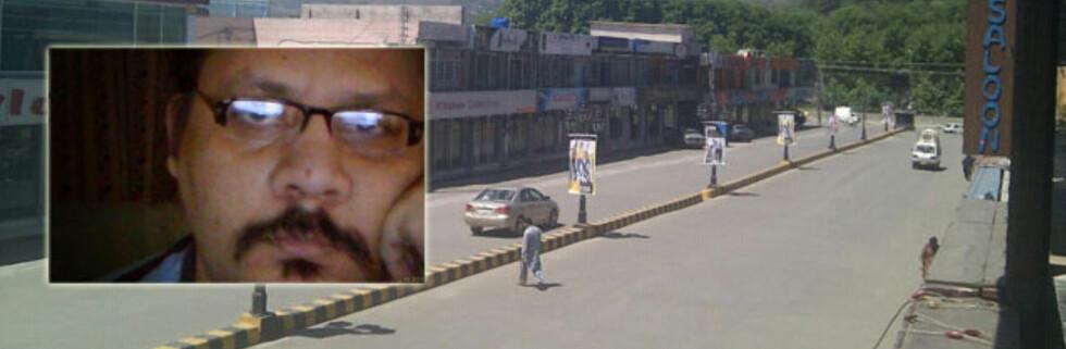 Sohaib Athar (innfelt) postet et bilde på Twitter som viser nesten folketomme gater i Abbottabad, etter at det meste av byen ble sperret av i forbindelse med aksjonen mot Osama Bin Laden. Foto: Sohaib Athar via TweetPic