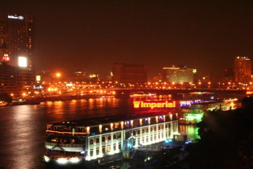 Her er utsikten Rundeberget hadde fra stuevinduet i leiligheten ved Nilen i Kairo. Foto: Privat