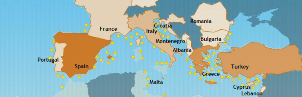 Her sees kartet over strandhotellene ved Middelhavet. Det er nok bare en promille av strandhotellene som finnes som er listet opp foreløpig. Foto: The Beachfront Club