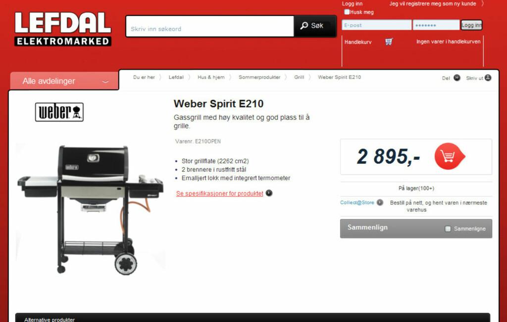 Lefdal oppgir pris på 2.895...