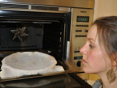 Vi legger den våte kluten på en tallerken, og kjører den på full guffe i mikroen i tre minutter. Voilá! Etter en ny skyll er den luktfri. Foto: DinSide