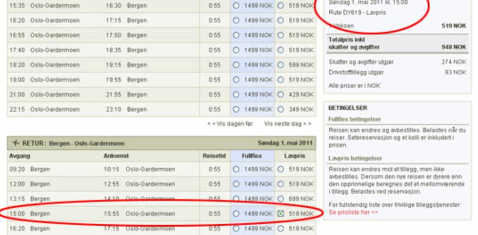 Norwegian-flyet som skulle gå klokken 15, ble 1 time og 20 minutter forsinket. I stedet satte de inn et nytt fly klokken 15.
