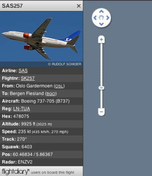 PÅ VEI: Et SAS-fly på vei fra Oslo Gardermoen til Bergen Flesland.