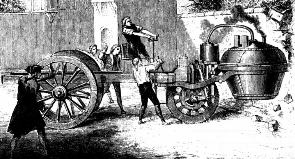 Verdens første bilulykke - 1771 Foto: Wikimedia Commons
