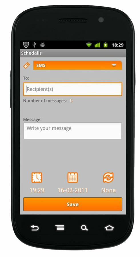 ENKELT: Hvem skal få meldingen, hva skal det stå og når skal den sendes. Det er det eneste appen spør om.  Foto: Ole Petter Baugerød Stokke