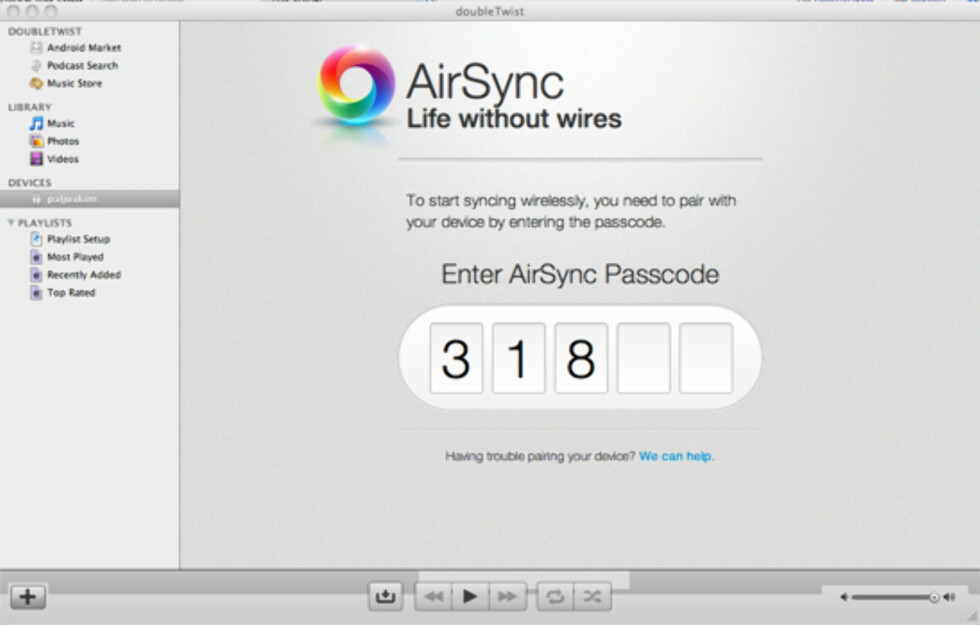 doubleTwist AirSync lar deg synke trådløst