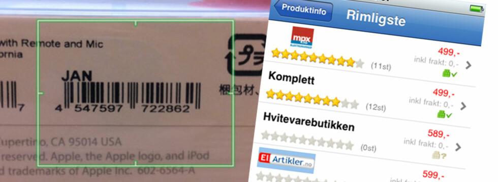 Prisjakt-applikasjonen til Android og Apples telefoner lar deg lese av strekkodene i butikken. Hvis produktet finnes i Prisjakts databaser, får du opp en liste over de laveste prisene. Foto: Prisjakt