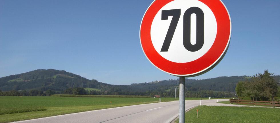 LAVERE: Fartsgrense på 70 km/t blir enkelte steder i Norge den nye 80 ... Foto: COLOURBOX.COM