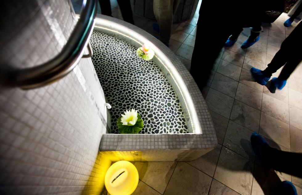 Her kan du vasse i ulike temperaturer. Varmen endrer seg etter hvor du står. Foto: Per Ervland