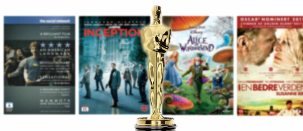 PRISFORSKJELLER: Natt til mandag ble årets Oscar-statuetter delt ut i USA. Allerede nå finner du mange av filmene på DVD og blu-ray, men prisene varierer kraftig. Foto: Filmdistributørene og Oscars.com - montasje: Kim Jansson