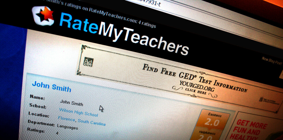 Dette er en av de mest populære nettsidene som lar elever vurdere lærerne sine. Elevene kan både legge inn karakter og kommentarer. Foto: Ratemyteachers.com