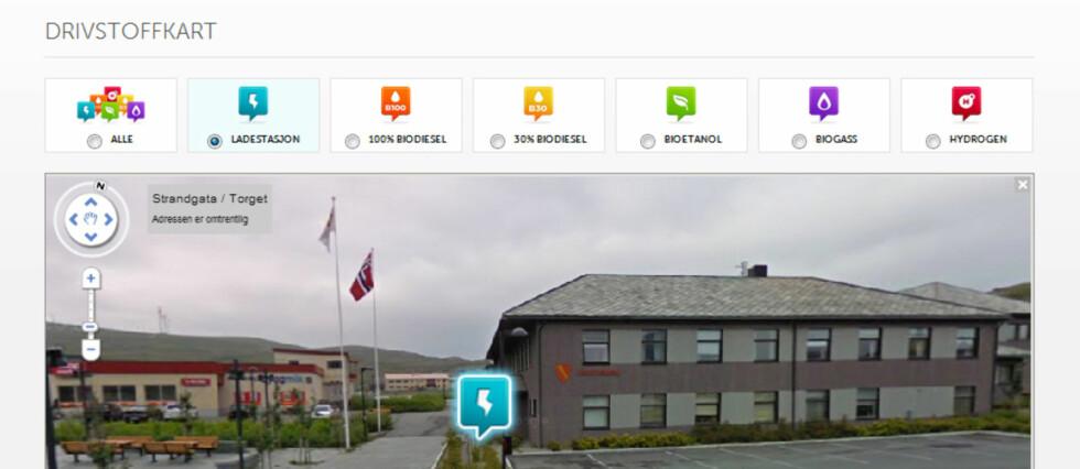 DETALJERT: Her kan du lade, på Norges nordligste ladestasjon i Havøysund. Foto: Klimabiler.no