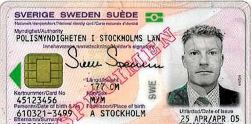Slik ser et svensk ID-kort ut. Det norske kortet vil se noe annerledes ut.