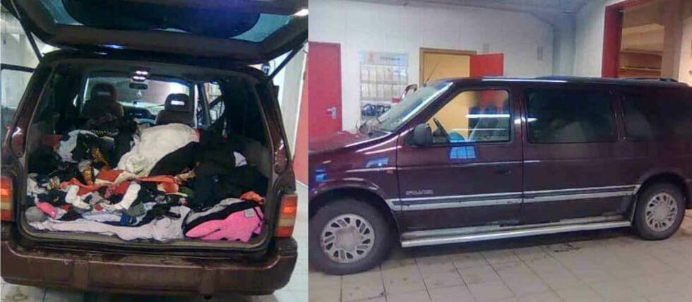 ROMMET 23 PERSONER: Da denne bilen ble stoppet før den skulle om bord i ferga fra Kristiansand til Hirtshals, veltet 23 asylsøkere fra Kosovo ut. Foto: Tollvesenet