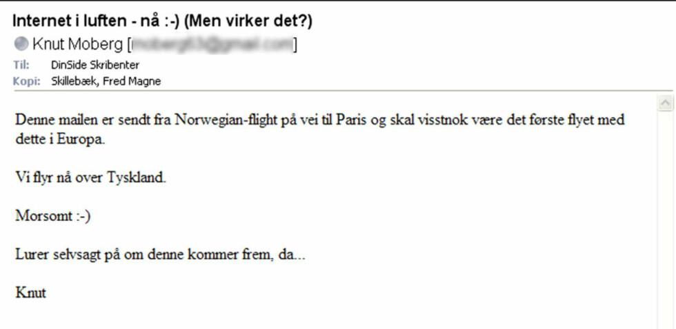 Sendte e-post fra himmelen