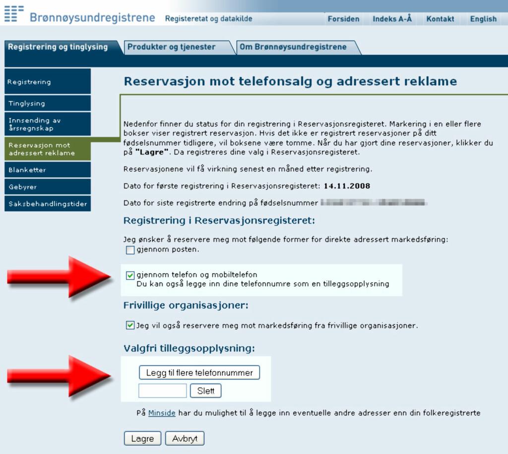 Husk å registrere  telefonnumrene du vil reservere mot telefonsalg. Foto: Brreg.no