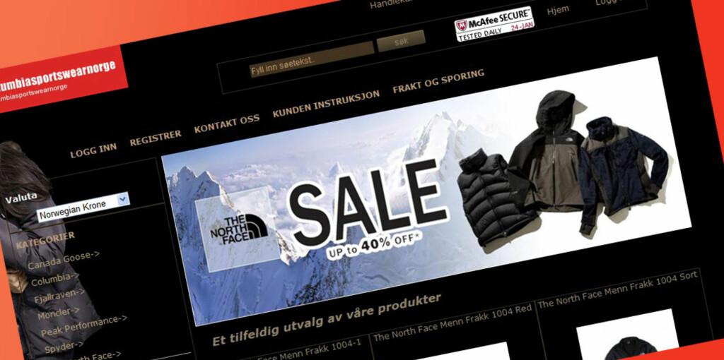 Forbrukerombudet advarer mot å tro at disse har å gjøre med noe med Columbia Sportswear. Foto: Columbiasportswearnorge.com