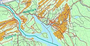 image: Kart viser fare for radon