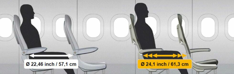 BEDRE PLASS: De nye setene til Lufthansa har blitt tynnere, men gir også bedre plass til føttene. Foto: Lufthansa