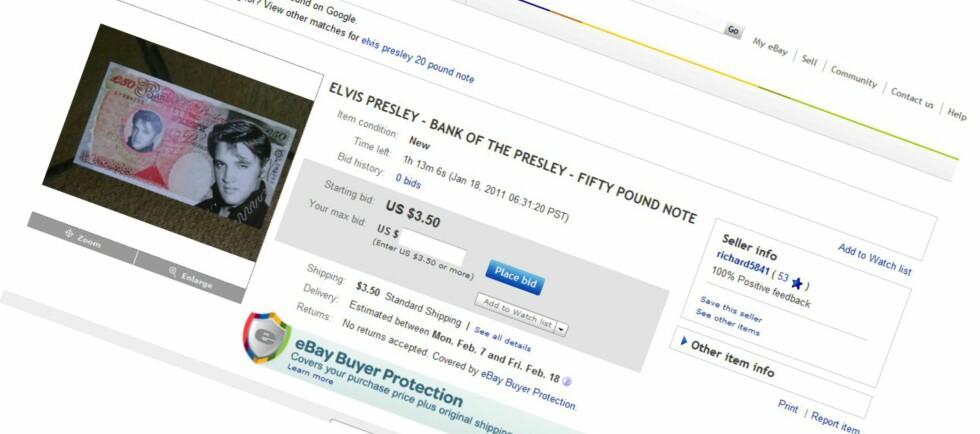 For bare 3,50 dollar får du en 50-punds Elvis-seddel. Men du skal ha flaks om du klarer å veksle den inn til ekte penger. Foto: Ebay