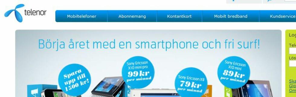 Svenske Telenor lokker med frisurf, men tillater ikke at du bruker det til hva som helst. Foto: Telenor.se