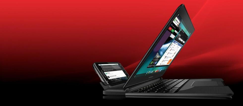 Motorola Atrix kan dockes både i PC og TV.