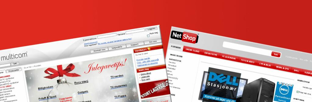 Nesten alle nettbutikkene Forbrukerrådet har undersøkt får kritikk. Bare Multicom og Netshop slipper unna uten en eneste anmerkning. Foto: Faksimile fra nettstedene