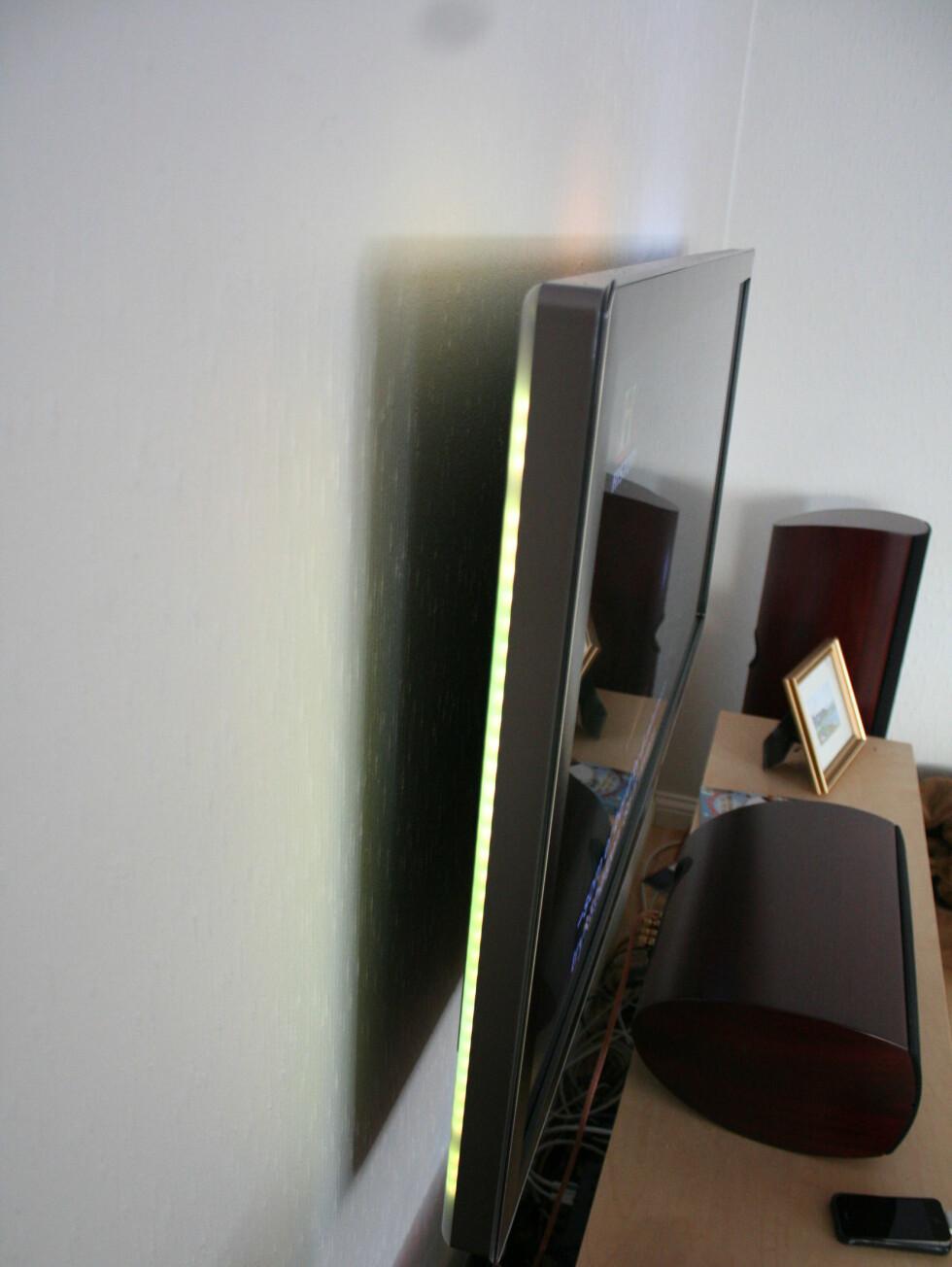 <strong>Philips smarte veggfeste opp til 46-tommere, lenke i saken, passer også fint til 21:</strong>9. Foto: Øyvind Paulsen