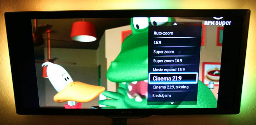 SD-sendinger i 4:3 ser derimot ikke like lekkert ut når du blåser dem opp til 21:9 Foto: Øyvind Paulsen