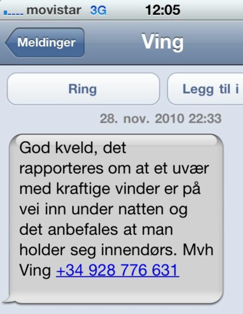 Her er meldingen reiseoperatøren Ving sendte i går kveld.