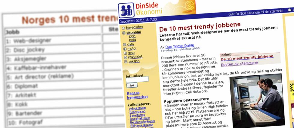 TOPP FOR TI ÅR SIDEN: Webdesigner og disk jockey  var de to mest trendy yrkene DinSides lesere kunne tenke seg for ti år siden. Foto: DinSide