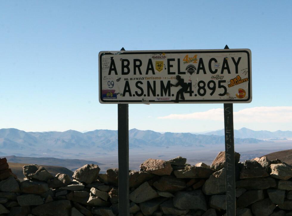 Abra El Acay er det høyeste punktet i Andes hvor det er mulig å ferdes med vanlig bil.  Foto: Fred Magne Skillebæk