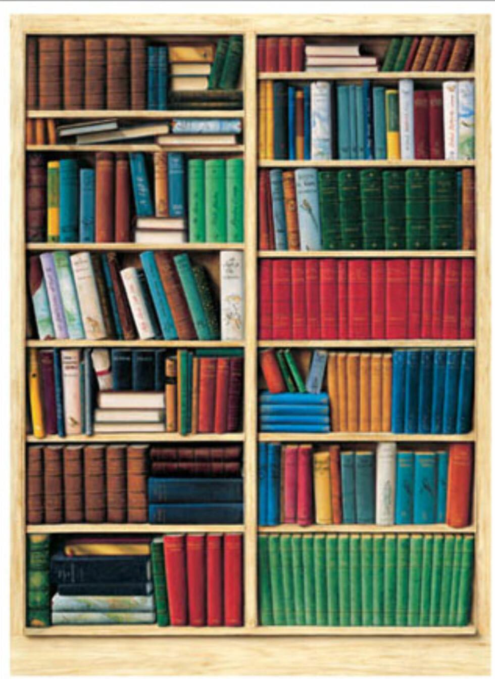 Har du ingen bøker, men lyst på et lite bibliotek? Denne typen fås på tapetshop.no. Foto: Produsenten