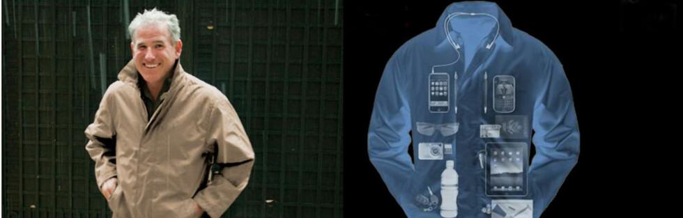HAN KLER PÅ SEG HÅNDBAGASJEN: Scottevests reisevennlige frakk rommer nok til en helg, hevder produsenten. Foto: Produsenten