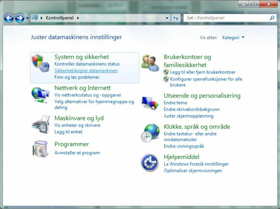Lag en systemavbildning i Windows 7