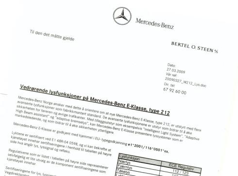 Importøren av Mercedes, Bertel O. Steen A/S har utformet et eget brev til førerne av deres biler.
