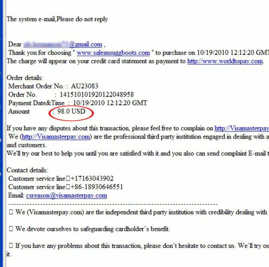 E-posten fra Visamasterpay.com holder ikke hva den lover. I stedet for 98 dollar ble det trukket omtrent 4.000 kroner fra kontoen.