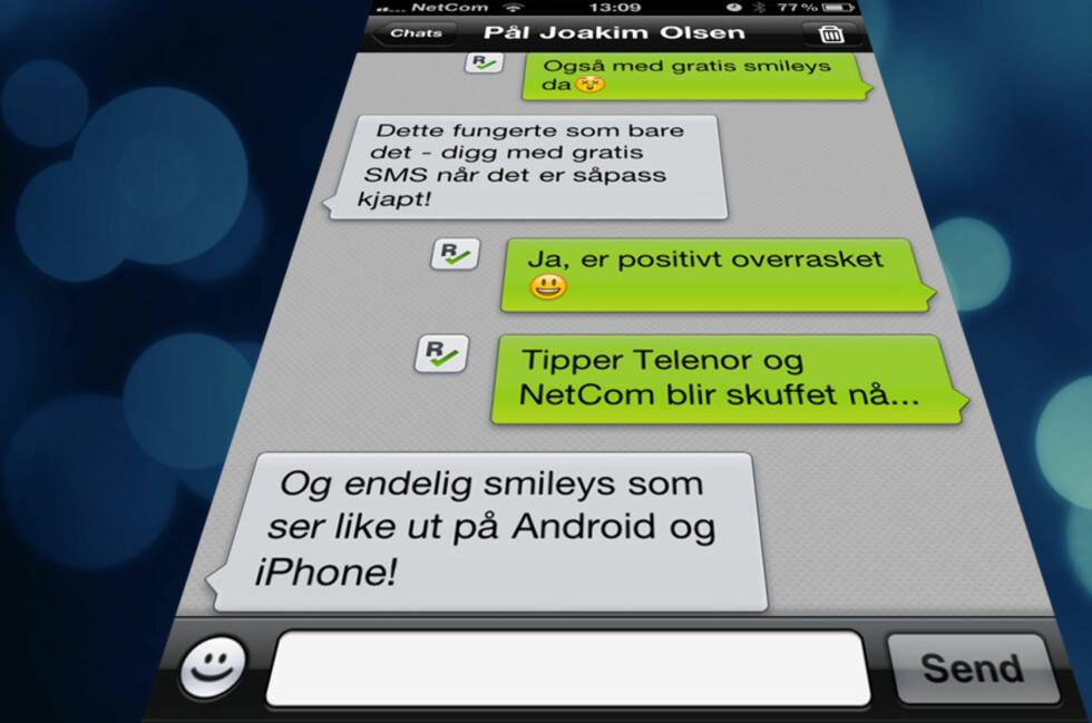 Med Kik sender du gratis meldinger til andre brukere, enten de bruker iPhone, Android eller Blackberry.