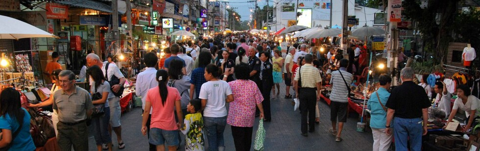 Søndagsmarkedet er en av de store attraksjonene i Chiang Mai, som kommer på en tiendeplass på listen. Foto: Wikimedia
