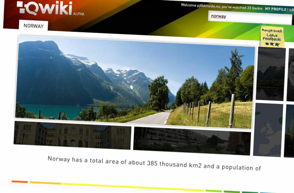 Tast søkeord, trykk enter og se en multimediapresentasjon av temaet med Qwiki.